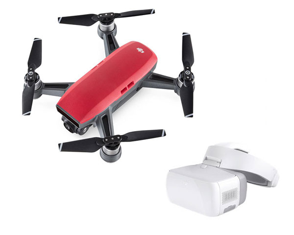 Квадрокоптер DJI Spark (Lava Red) и видеоочки Goggles