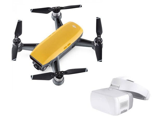 Квадрокоптер DJI Spark (Sunrise Yellow) и видеоочки Goggles